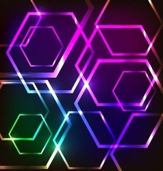 Abstract glowing background with hexagons vector