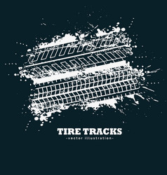 abstract grunge tire tracks marks on dark vector image