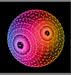 abstract triangulation sphere node color top line vector image