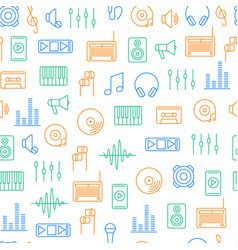 Acoustics and sound seamless pattern background vector