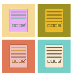 assembly flat icons with thin lines checklist vector image