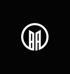 ba monogram logo isolated with a rotating circle vector image