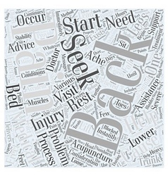 Back pain and considerations word cloud concept vector