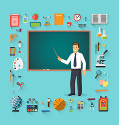 Back to school teacher with pointer stick vector