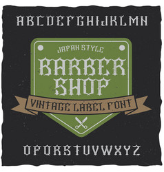 Barber shop label font and sample label design vector