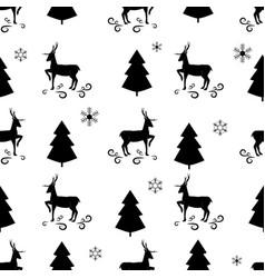 black christmas tree snowflake and deer seamless vector image