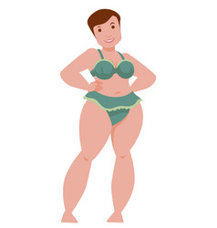 Body positive concept with curvy smiling woman vector