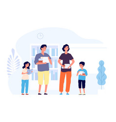 Book lovers man woman and kids with books flat vector