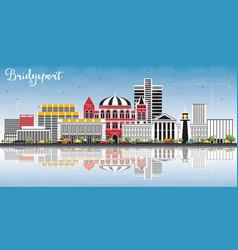 bridgeport connecticut city skyline with color vector image
