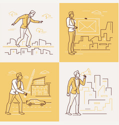 Business situations - set of line design style vector