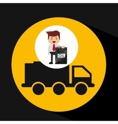 Businessman oil industry truck transpsort vector