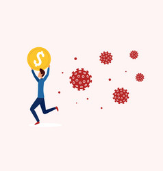 businessman runs away from coronavirus holding vector image