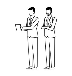 Businessmen team coworker faceless black and white vector