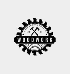 Carpentry house vintage badge logo template vector