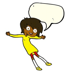 Cartoon crazy excited girl with speech bubble vector