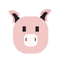 Cartoon pig head icon animal clip art vector