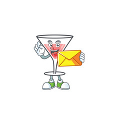 Character a bring envelope in cartoon cocktail vector