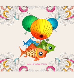 Chinese lantern festival doodle graphic design vector