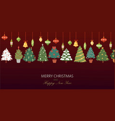 christmas fir trees with colorful baubles and vector image