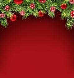 Christmas framework with fir twigs and glass balls vector