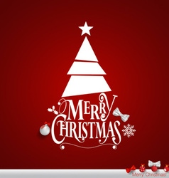 Christmas Greeting Card Merry Christmas lettering vector