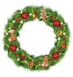 Christmas wreath with fir vector