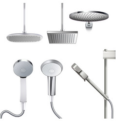 Chrome shower head set isolated on white backdrop vector