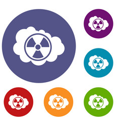 Cloud and radioactive sign icons set vector