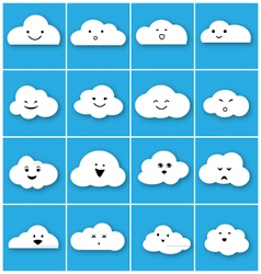 Cloud emotion icons set vector image