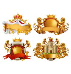 coats arms king and kingdom 3d emblem set vector image