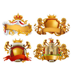 Coats of arms king and kingdom 3d emblem set vector