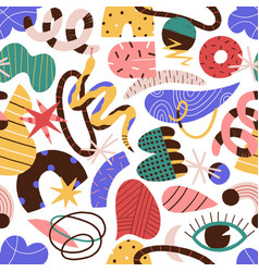 Colorful abstract trendy doodle shapes and objects vector