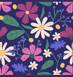 colorful floral seamless pattern endless natural vector image