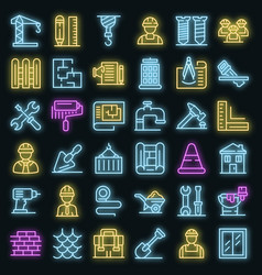 contractor icons set neon vector image