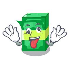Crazy set money in packing bundles cartoon vector