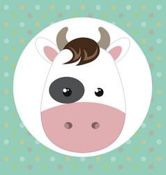 cute cow head tender character vector image