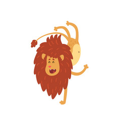 Cute lion cub cartoon character doing handstand vector