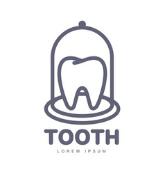 dental care logo template with tooth under bell vector image vector image