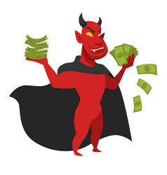 Devil with money in black cloak isolated character vector