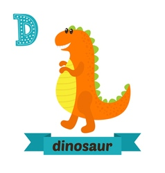 Dinosaur D letter Cute children animal alphabet in vector image