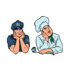 Dreaming man policeman and cook set vector