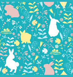 easter pattern with bunnies vector image