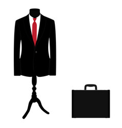 elegant black suit with red tie and black leather vector image