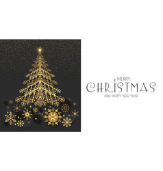 elegant christmas card template with gold fir tree vector image