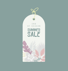 end of season summer sale background with flowers vector image