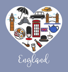 england promotional poster with national symbols vector image