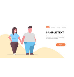 fatty couple standing together overweight man vector image