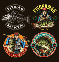 fishing colorful labels vector image
