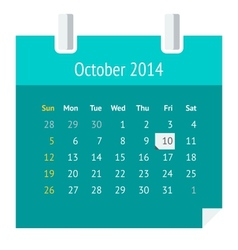 Flat calendar page for October 2014 vector image
