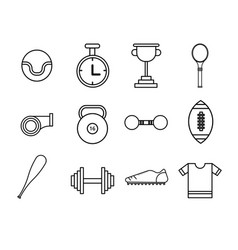 Flat thin line sport icons set vector